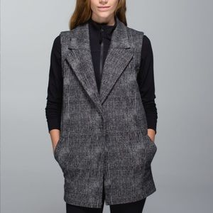Lululemon Blazer Vest Burlap Texture Black Dune Size 4